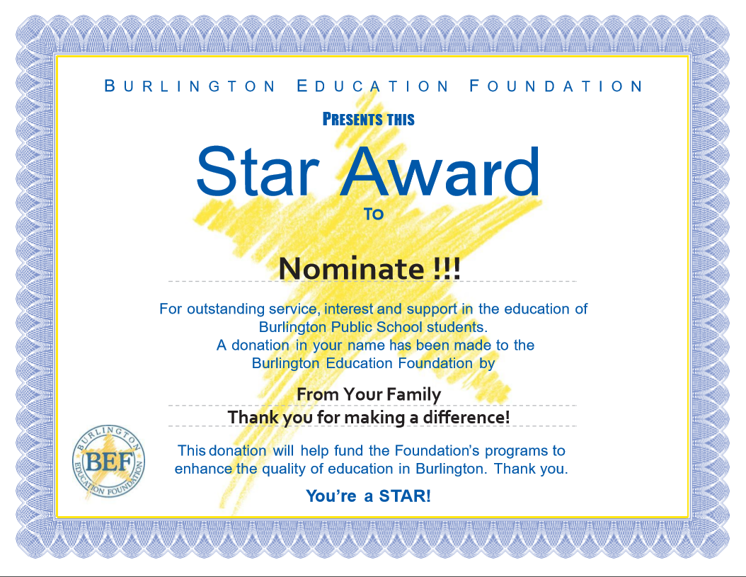 Star awards burlington education foundation make a star award donation to support your nomination yelopaper Choice Image